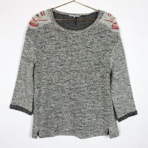 Fate Gray Knit Embroidered Shoulder Sweater